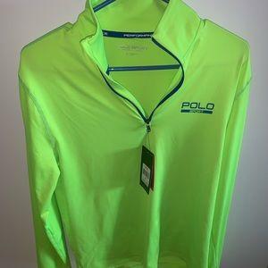 Men's neon Ralph Lauren Polo half zip